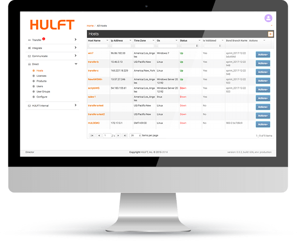 Secure File Transfer with HULFT Transfer Product Preview - Example Screenshot